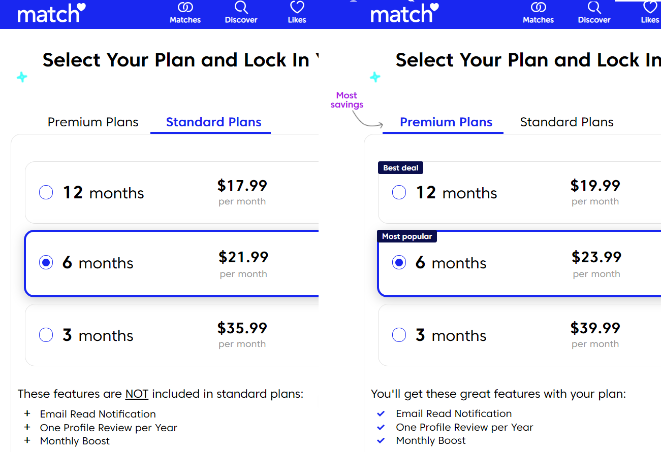 Match.com pricing